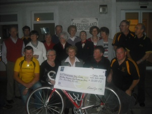 currow cc presenting cheque for charity cycle
